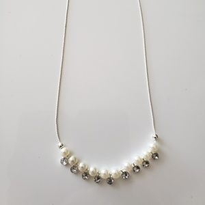 VINTAGE  ☆ Pearl & CZ Necklace,  PRETTY!